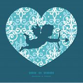 Vector light blue swirls damask shooting cupid silhouette frame pattern invitation greeting card tem