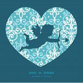 Vector light blue swirls damask shooting cupid silhouette frame pattern invitation greeting card tem