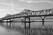 two bridges in black and white