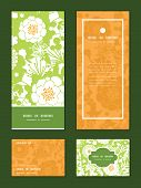 Vector green and golden garden silhouettes vertical frame pattern invitation greeting, RSVP and than