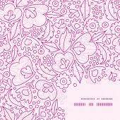 Vector pink flowers lineart frame corner pattern background