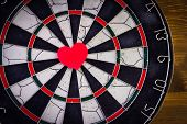 Red Heart In The Center Dartboard.