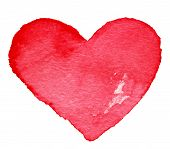 Hand Drawn Valentine's Day Painted Red Heart. Design Element - Art  Red Love Heart Shape Symbols. Vi