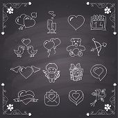 Chalkboard style valentines day icons