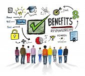 Benefits Gain Profit Income People Rear View Concept