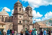 CUZCO, PERU - CIRCA FEB 2014: Society of Jesus church at the Plaza de Armas in Cuzco, Peru.