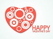 Creative heart decorated by gear wheels for Happy Valentines Day celebration.