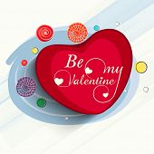 Red heart with text Be My Valentine on stylish blue background for Happy Valentines Day celebration.