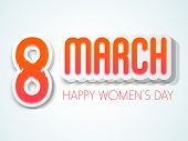 3D text 8 March on blue background for Happy Women's Day celebration.