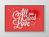 foto of corazon  - Beautiful greeting card design with text All You Need is Love on hearts decorated red background for Happy Valentines Day celebration - JPG