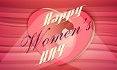 Elegant greeting card design with stylish text Happy Women's Day and young girl face on pink heart.
