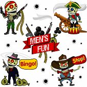 Funny Skeletons. Men's Fun.