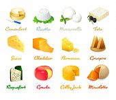 foto of kindness  - Most popular kind of cheese icons isolated - JPG