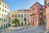 Traditional neighborhood (Alfama) in the city of Lisbon, Portugal, Europe