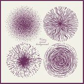 Set of vector round backgrounds, abstract hand drawn doodles