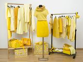 Dressing Closet With Yellow Clothes Arranged On Hangers And A Winter Outfit On A Mannequin.