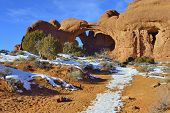 Double Arch In Arches National Park, Utah In Winter