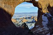 Partition Arch In Arches National Park, Utah In Winter