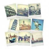 Set of old instant photos of Italy
