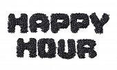 Text Happy Hour made of black caviare