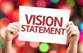 Vision Statement card with colorful background with defocused lights