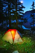 foto of tent  - Night camping in a tent on the lake in Snowy Range Mountains in Medicine Bow Wyoming - JPG