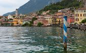 View on Limone Sul Garda from lake