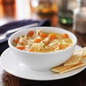 foto of noodles  - hot bowl of chicken noodle soup - JPG