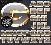 Gray alphabet with golden border. Extended. File contains graphic styles available in Illustrator. Set 1