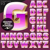 Pink font with golden border. Compact extra. File contains graphic styles available in Illustrator. Set 1