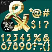 Vector alphabet of beveled golden letters. Art-deco light. File contains graphic styles available in Illustrator. Set 3
