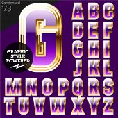 Violet font with golden border.Condensed. File contains graphic styles available in Illustrator. Set 1
