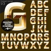Vector font of beveled golden letters. Compact normal. File contains graphic styles available in Illustrator. Set 1
