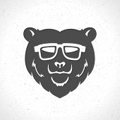 Hipster bear head mascot silhouette and glasses vintage vector design element illustration