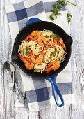 Frying Pan Of Prawns Spaghetti With Creamy Sauce