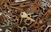 old keys against wooden background