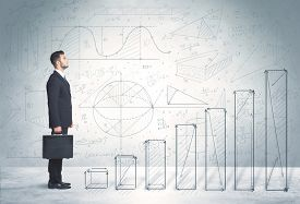 image of step-up  - Business man climbing up on hand drawn graphs concept on background - JPG