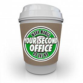 picture of productivity  - Your Second Office words on a coffee cup to illustrate mobile work at a coffee shop or cafe and being productive and efficient - JPG