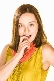 stock photo of flirty  - Pretty flirty girl on a white background - JPG