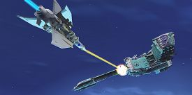 stock photo of battleship  - A battle ensues as a fighter spacecraft blasts a large enemy battleship with a laser beam - JPG