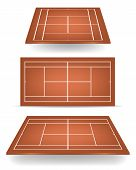 stock photo of deuce  - Set of brown tennis courts with perspective - JPG