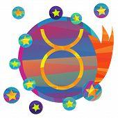 stock photo of taurus  - papercut style zodiac icon set - JPG