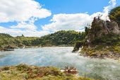 picture of steam  - Steaming volcano nearFrying pan lake - JPG