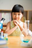 foto of schoolgirl  - Portrait of Asian schoolgirl at the laboratory class - JPG
