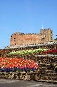 foto of castle  - View of the castle gardens with steps leading towards the Norman castle Tamworth Staffordshire England UK Western Europe - JPG