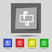 picture of mailbox  - Mailbox icon sign on the original five colored buttons - JPG