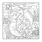 image of letter n  - Coloring book  - JPG