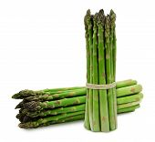 picture of white asparagus  - Two bunches of green fresh asparagus isolated on white background - JPG