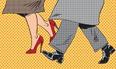stock photo of street-art  - Feet man and woman in the Shoe go in bad weather on the street pop art comics retro style Halftone - JPG
