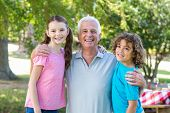 picture of extended family  - Extended family smiling in the park on a sunny day - JPG